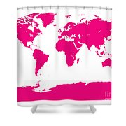 Map In Pink Shower Curtain