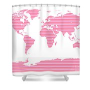 Map In Pink Stripes Shower Curtain