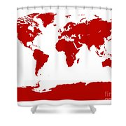 Map In Red Shower Curtain