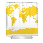 Map In Yellow Shower Curtain