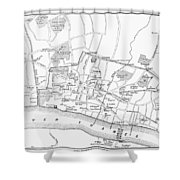 Map: London, 13th Century Shower Curtain