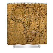 Map Of Africa Circa 1829 On Worn Canvas Shower Curtain