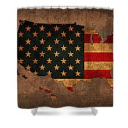 Map Of America United States Usa With Flag Art On Distressed Worn Canvas Shower Curtain