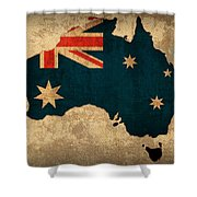 Map Of Australia With Flag Art On Distressed Worn Canvas Shower Curtain