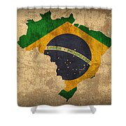 Map Of Brazil With Flag Art On Distressed Worn Canvas Shower Curtain