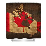 Map Of Canada With Flag Art On Distressed Worn Canvas Shower Curtain