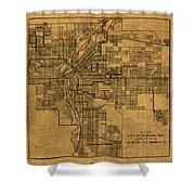 Map Of Denver Colorado City Street Railroad Schematic Cartography Circa 1903 On Worn Canvas Shower Curtain