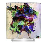 Map Of France In Watercolor Style Splash Shower Curtain