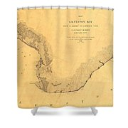Map Of Galveston Bay 1851 Shower Curtain
