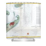 Map Of Galveston City And Harbor Texas Shower Curtain