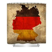 Map Of Germany With Flag Art On Distressed Worn Canvas Shower Curtain