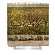 Map Of Houston Texas Circa 1891 On Worn Distressed Canvas Shower Curtain
