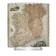 Map Of Ireland Shower Curtain by C Montague