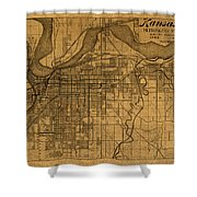 Map Of Kansas City Missouri Vintage Old Street Cartography On Worn Distressed Canvas Shower Curtain