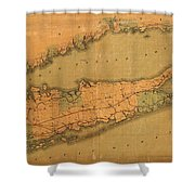 Map Of Long Island 1888 Shower Curtain