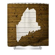 Map Of Maine State Outline White Distressed Paint On Reclaimed Wood Planks. Shower Curtain