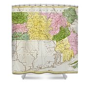 Map Of Massachusetts, From Historical Collections Of Massachusetts, By John Warren Barber, 1839 Shower Curtain