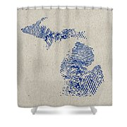 Map Of Michigan Great Lake State Fingerprint Art Shower Curtain