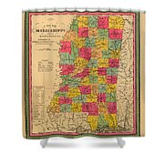 Map Of Mississippi 1850 Shower Curtain