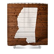 Map Of Mississippi State Outline White Distressed Paint On Reclaimed Wood Planks. Shower Curtain