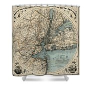 Map Of New York 1891 Shower Curtain