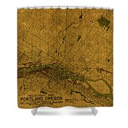 Map Of Portland Oregon City Street Schematic Cartography Circa 1924 On Worn Parchment  Shower Curtain