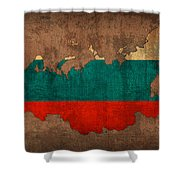 Map Of Russia With Flag Art On Distressed Worn Canvas Shower Curtain