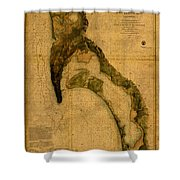 Map Of San Diego Bay California Circa 1857 On Worn Distressed Canvas Parchment Shower Curtain