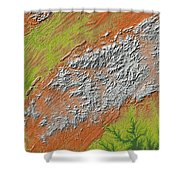 Map Of Southern Appalachia Shower Curtain