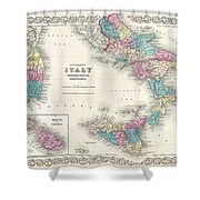 Map Of Southern Italy Sicily Sardinia And Malta Shower Curtain
