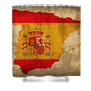 Map Of Spain With Flag Art On Distressed Worn Canvas Shower Curtain