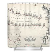 Map Of The Battle Of Trafalgar Shower Curtain by Alexander Keith Johnson
