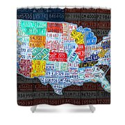 Map Of The United States In Vintage License Plates On American Flag Shower Curtain