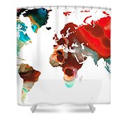Map Of The World 5 -colorful Abstract Art Shower Curtain