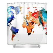 Map Of The World 8 -colorful Abstract Art Shower Curtain