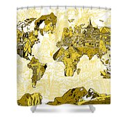 Map Of The World Collage  Shower Curtain