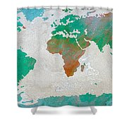 Map Of The World - Colors Of Earth And Water Shower Curtain
