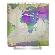 Map Of The World - Plaid Watercolor Splatter Shower Curtain
