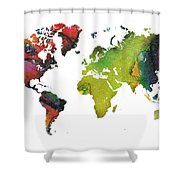 Map Of The World Red Green Shower Curtain