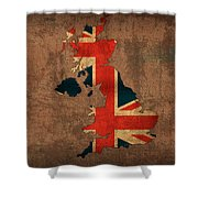 Map Of United Kingdom With Flag Art On Distressed Worn Canvas Shower Curtain