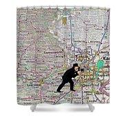 Map Overland Park Kansas Shower Curtain