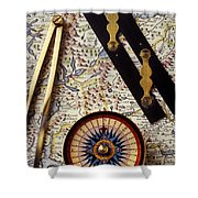 Map With Compass Tools Shower Curtain