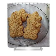 Maple Leaf Cookies And Milk - Food Art - Kitchen Shower Curtain