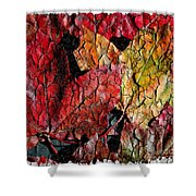 Maple Leaves Cracked Square Shower Curtain