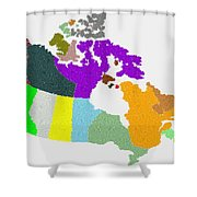 Maple Leaves Map Of Canada Shower Curtain