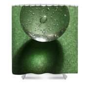 Marble Clear On Green 1 Shower Curtain