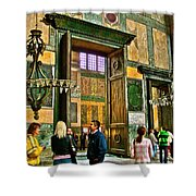 Marble Of Many Colors In Saint Sophia's In Istanbul-turkey Shower Curtain