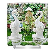 Marble Stork Sculptures In Xuat Anh-vietnam Shower Curtain