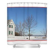 Marblehead Lighthouse In Snow Shower Curtain
