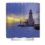 Marblehead Lighthouse Winter Sunrise Shower Curtain